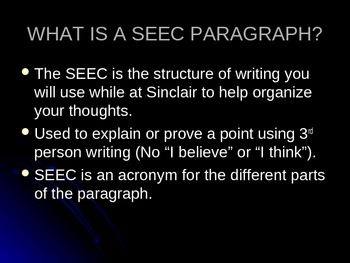 A Structured Form of Paragraph Writing: The SEEC Powerpoint