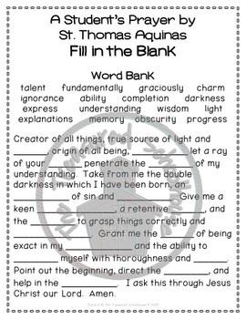 A Student's Prayer by St. Thomas Aquinas Prayer Pack