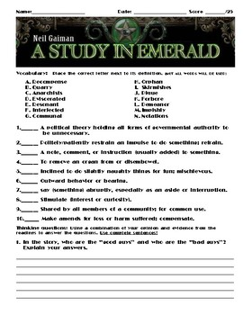 A Study in Emerald by Neil Gaiman Assignment