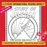 JAPAN - A Study of Japan – A 20 Page Student Informational Reading Booklet