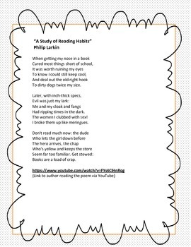 """""""A Study of Reading Habits"""" by Philip Larkin (Poetry Study)"""