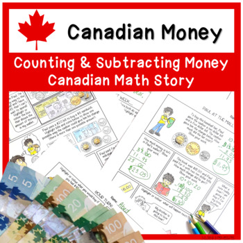 A Subtraction Story Comic and Worksheet - counting money and regrouping