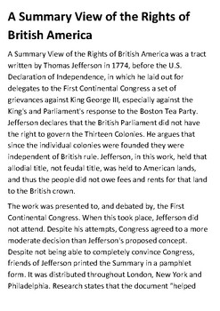 A Summary View of the Rights of British America - Thomas Jefferson Handout