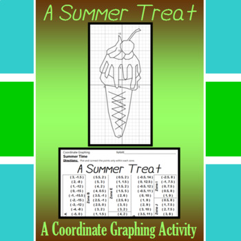A Summer Treat - A Summer Time Coordinate Graphing Activity