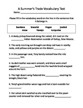 A Summer's Trade Vocabulary Test and Vocabulary Dominoes
