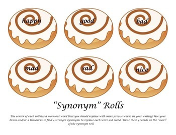 "A Sweet Way to Choose Precise Vocabulary Words & Synonyms- ""Synonym"" Rolls!"
