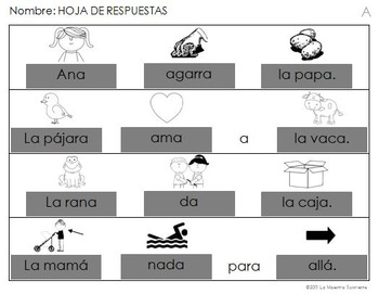 Read and Build: A Syllable Sentences (Spanish)