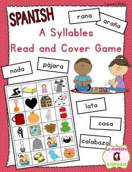 Read and Cover Game: Decoding A Syllables (Spanish)