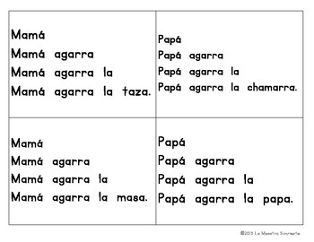 Sentence Fluency Cards: Reading A Syllables (Spanish)