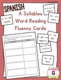 Word Fluency Cards: Reading A Syllables (Spanish)