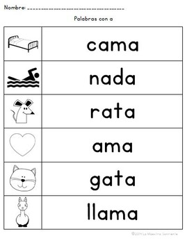 Spelling: Writing A Syllables (Spanish)
