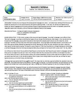 A Syllabus for the Spanish Classroom - Fully Editable
