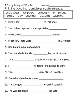A Symphony of Whales---Supplemental Packet--Reading Street Third Grade