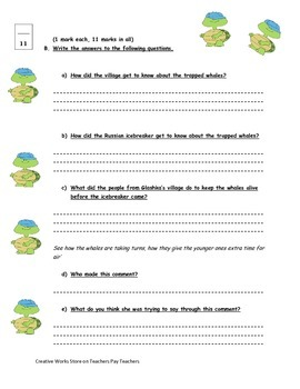 A Symphony of Whales - (Reading Quiz + Writing Packet)
