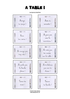 ALIMENTATION - LES BONNES MANIERES A TABLE - IMAGIER