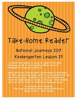 A Take-Home Reader for National Journeys ELA Kindergarten Lesson 25