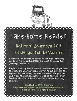 A Take-Home Reader for National Journeys ELA Kindergarten Lesson 28