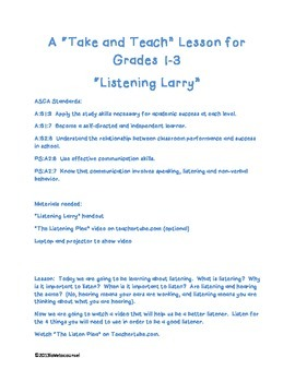 """A """"Take It and Teach"""" lesson on Listening for Gr. 1-3"""