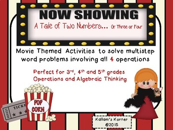 Multistep Word Problems Using 4 Operations-Movie Themed