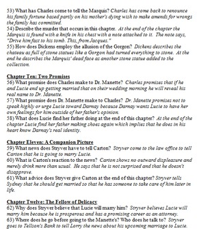 A Tale of Two Cities Chapter by Chapter Questions