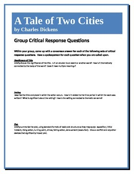 A Tale of Two Cities - Dickens - Group Critical Response Q