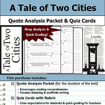 A Tale of Two Cities - Quote Analysis & Reading Quizzes