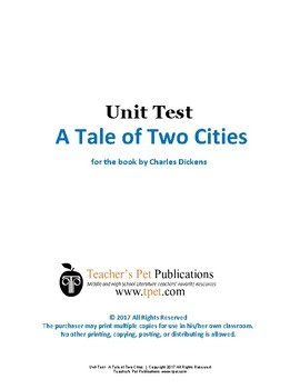 A Tale of Two Cities Unit Test