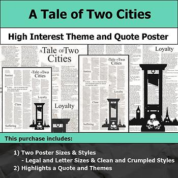 A Tale of Two Cities - Visual Theme and Quote Poster for Bulletin Boards