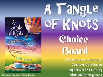 A Tangle of Knots Choice Board Novel Study Activities Menu Book Project