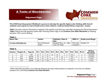 A Taste of Blackberries -CCQ Novel Study Assessment Workbook-Common Core Aligned