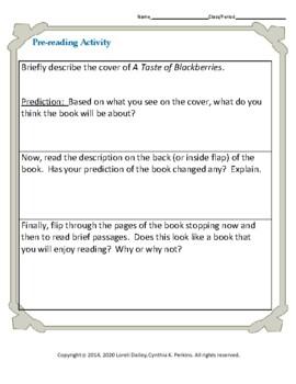 A Taste of Blackberries Literature and Grammar Unit