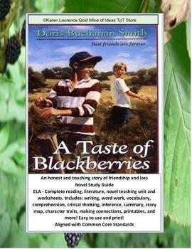 A Taste of Blackberries Reading Novel ELA Study Guide Complete