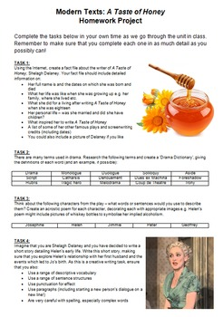 A Taste of Honey 8 Week Unit - 32 Lessons, PPT, Resources, Homework!