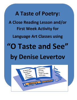 """First Day Activity - A Taste of Poetry: """"O Taste and See"""""""