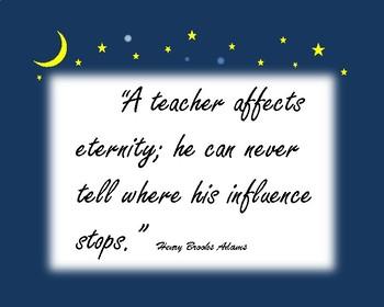 Poster: A Teacher Affects Eternity