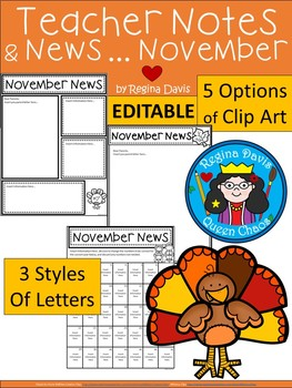 A+ Teacher News and Notes For Parents..Editable Papers: NOVEMBER