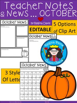 A+ Teacher News and Notes For Parents..Editable Papers: OCTOBER