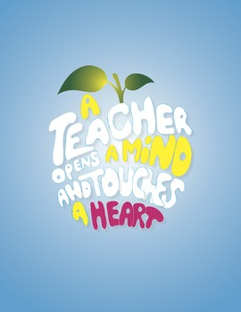 A Teacher Opens a Mind Digital Print Blue Background