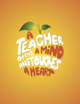 A Teacher Opens a Mind Digital Print- Orange Background