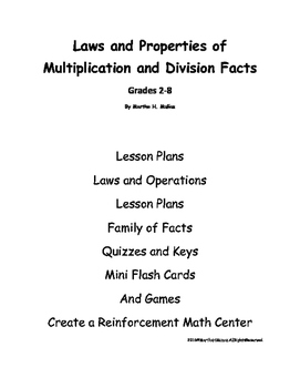 A Teacher Resource--Laws and Properties of Multiplication and Division Facts
