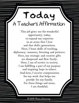 A Teacher's Affirmation (Professional Development)