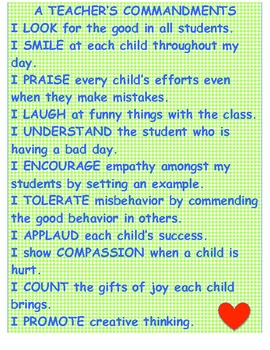 A Teacher's Commandments