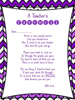 A Teacher's Farewell Poem