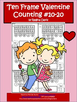 A + Ten Frame Valentine Counting Numbers 10-20