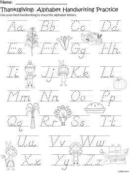 A+ Thanksgiving Alphabet Handwriting Practice