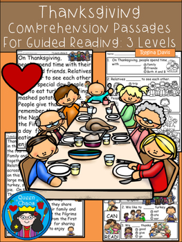A+ Thanksgiving Comprehension:Differentiated Instruction For Guided Reading
