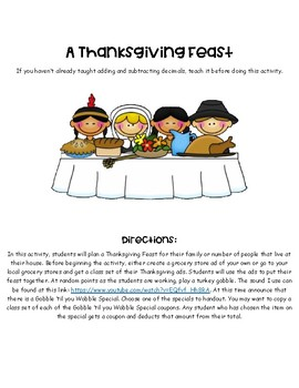 A Thanksgiving Feast: Adding and Subtracting Decimals