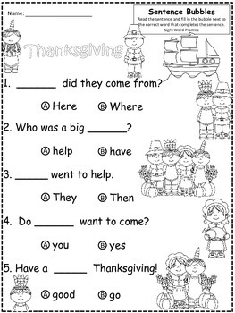 A+ Thanksgiving: Fill In the Blank.Multiple Choice Sight Word Sentences