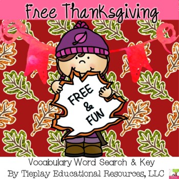 FREE A Thanksgiving Word Search & Key Worksheet