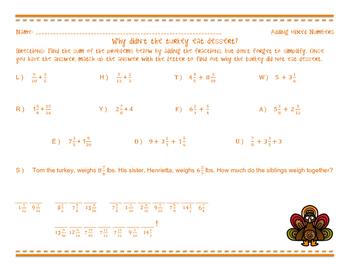 A Thanksgiving Joke - Adding Mixed Numbers Worksheet